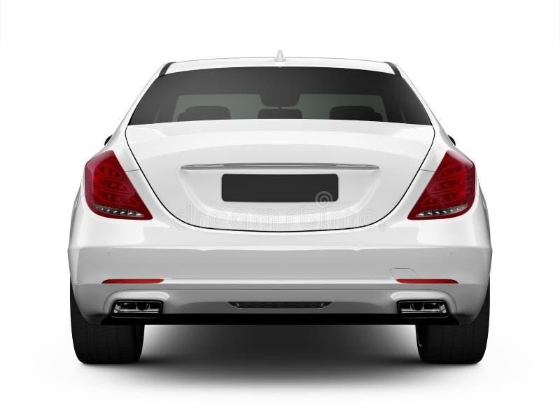 Bakre sikt av den vita lyxiga bilen royaltyfri illustrationer