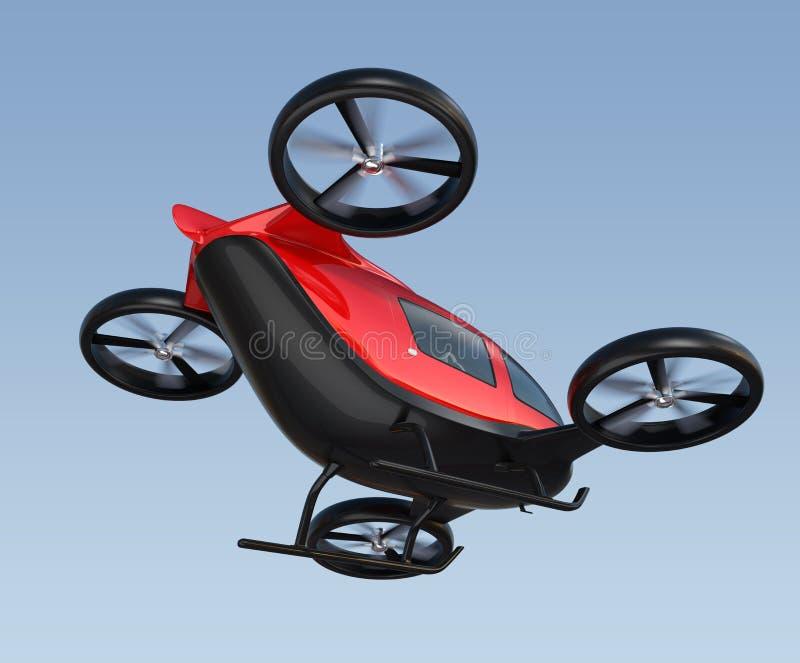 Bakre sikt av det metalliska röda själv-körande passageraresurrflyget i himlen stock illustrationer