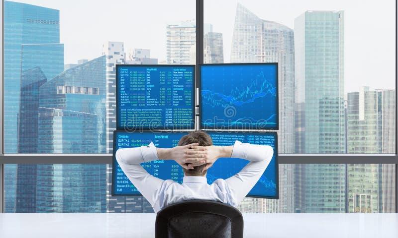 Bakre sikt av en avslappnande affärsman som sitter framme av en handelstation, som består av fyra skärmar med finansiella data A arkivbilder