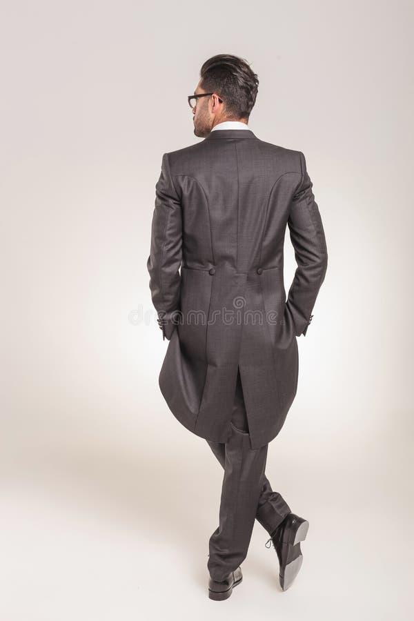 Bakre sikt av en elegant ung affärsman arkivbild