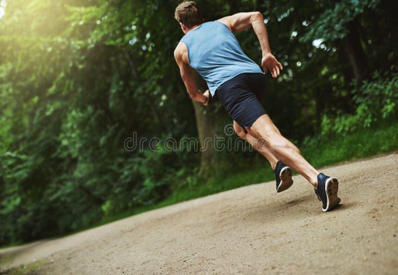 Bakre sikt av en idrotts- man som joggar på parkera arkivbilder
