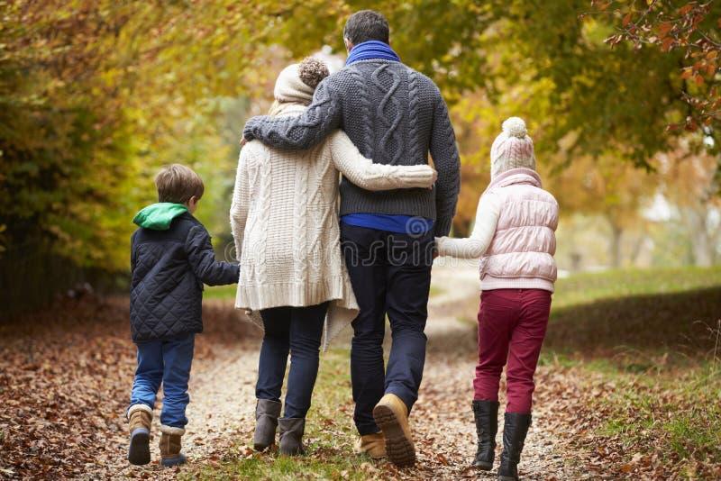 Bakre sikt av familjen som promenerar Autumn Path royaltyfri fotografi