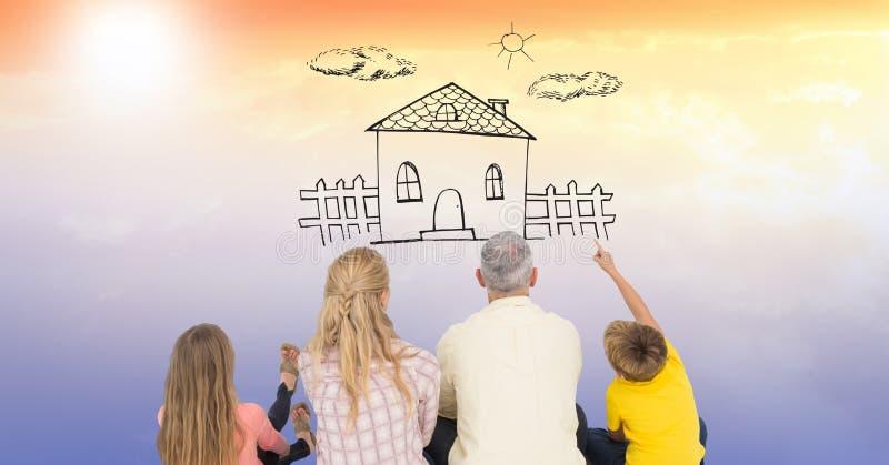 Bakre sikt av familjsammanträde, medan hålla ögonen på hussymbol på himmel arkivbilder