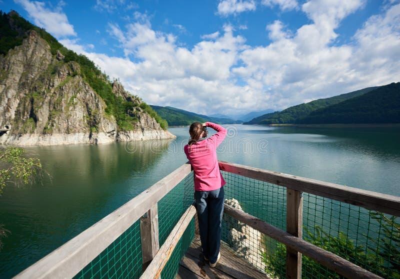Bakre sikt av fotografkvinnlign på sjön Vidraru Carpathians Rumänien royaltyfri fotografi