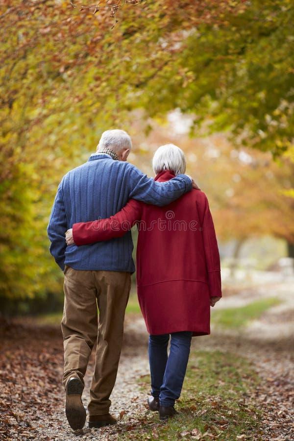 Bakre sikt av höga par som promenerar Autumn Path royaltyfria bilder