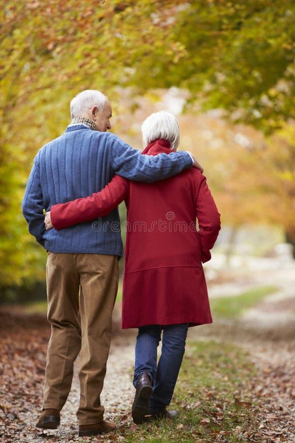 Bakre sikt av höga par som promenerar Autumn Path arkivbild