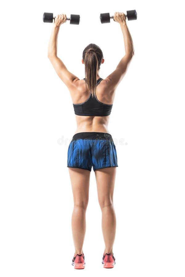 Bakre sikt av konditionkvinnatyngdlyftningen som gör tillbaka övning för skuldror med fördjupade armar royaltyfri foto