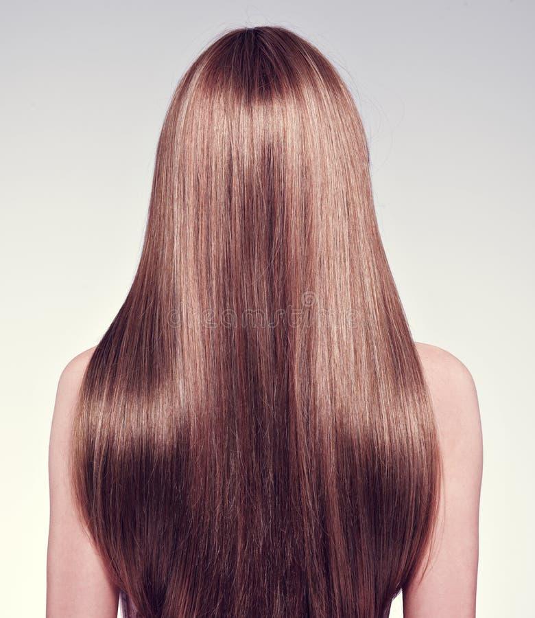 Bakre sikt av kvinnan med långt hår royaltyfria foton