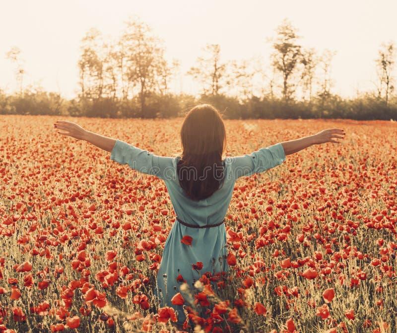 Bakre sikt av kvinnan med lyftta armar i blommaäng arkivfoto