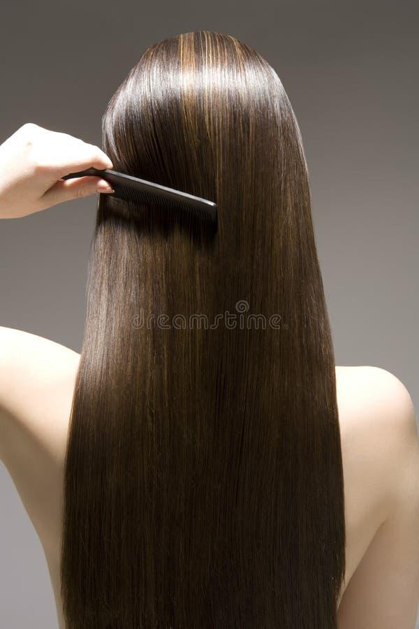 Bakre sikt av kvinnan som kammar brunt hår royaltyfri bild