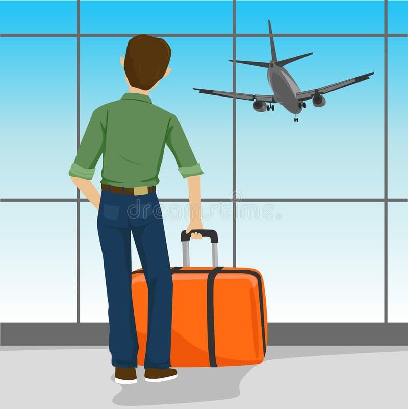 Bakre sikt av mananseendet med resväskan i hållande ögonen på landningflygplan för flygplats royaltyfri illustrationer