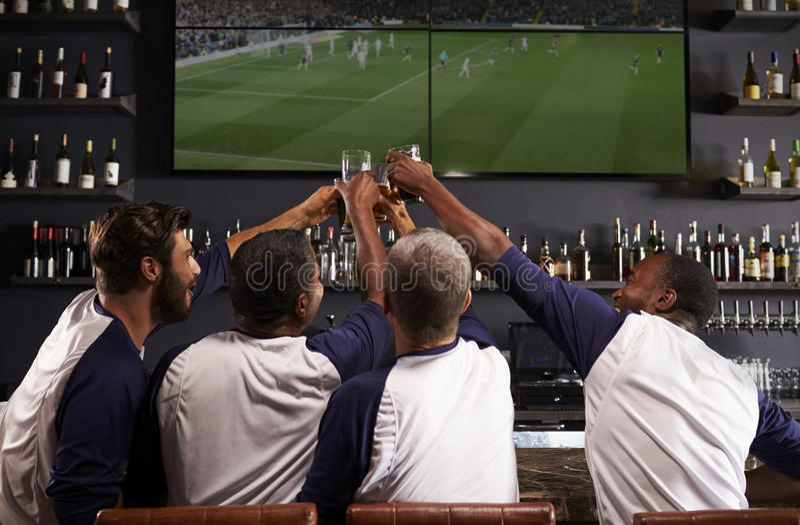 Bakre sikt av manliga vänner som håller ögonen på leken i sportstång royaltyfri fotografi