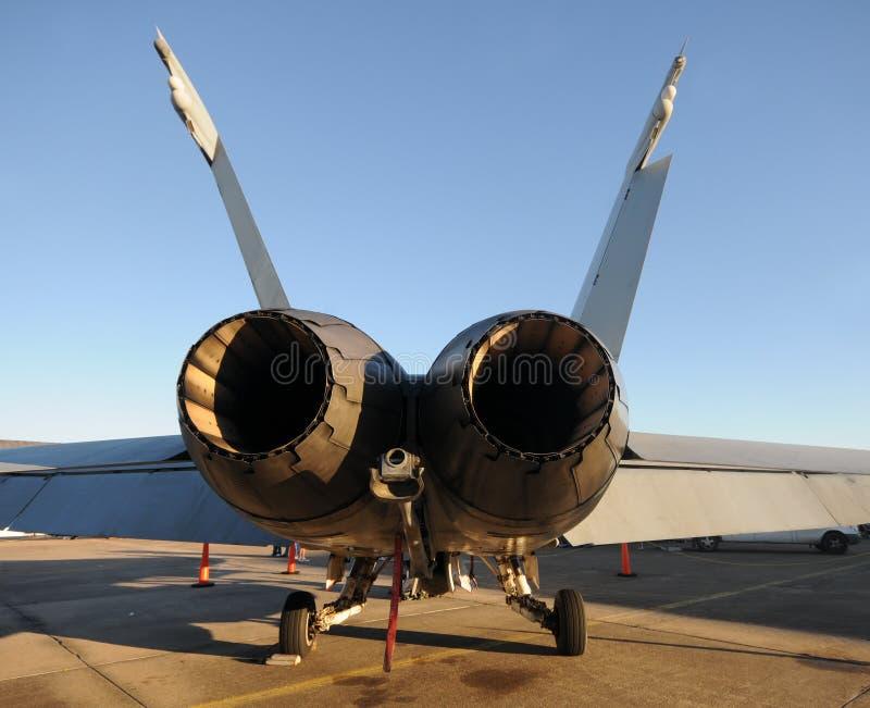 bakre sikt för jetfighter arkivfoton