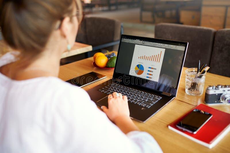 Bakre sikt för närbild av den unga affärs- eller studentkvinnan som arbetar på kafét med bärbar datordatoren, maskinskrivning som royaltyfri bild