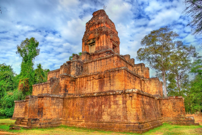 Baksei Chamkrong,在吴哥复合体-柬埔寨的印度寺庙 库存图片
