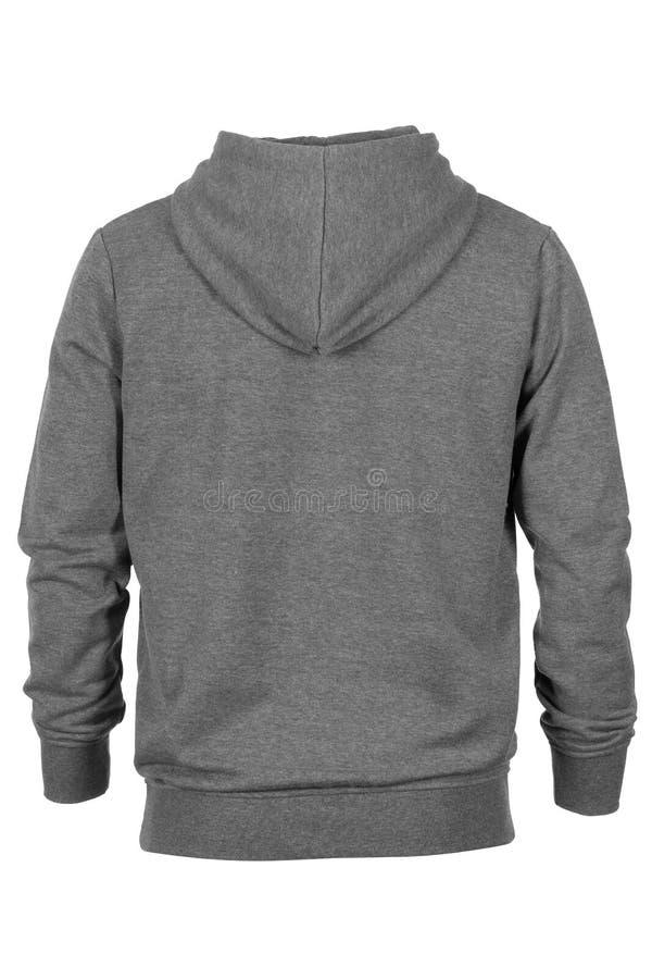 Baksida av den gråa tröjan med huven arkivbilder