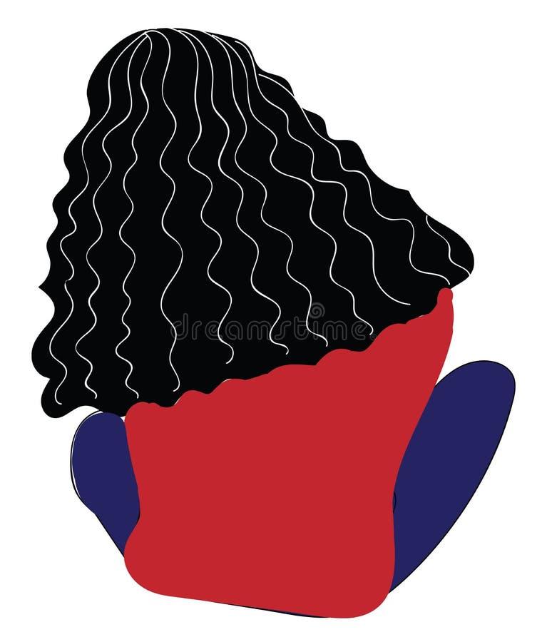 Baksida av en sittande flicka med lång röd hårtröja och blåbyxor royaltyfri illustrationer