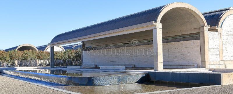 Baksida av Kimball Art Museum Fort Worth, Texas arkivbild