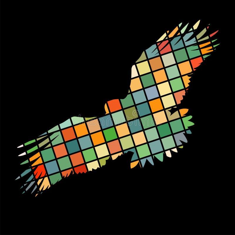 Baksida för djur för kontur för färg för mosaik för fågel för guld- örn för Eagle hök stock illustrationer