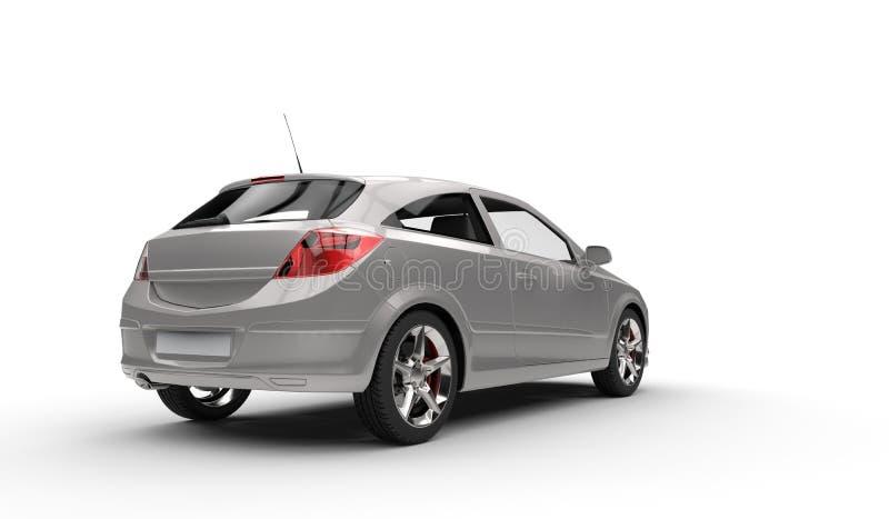 Baksida för kompakt bil för silver - sidosikt arkivbilder