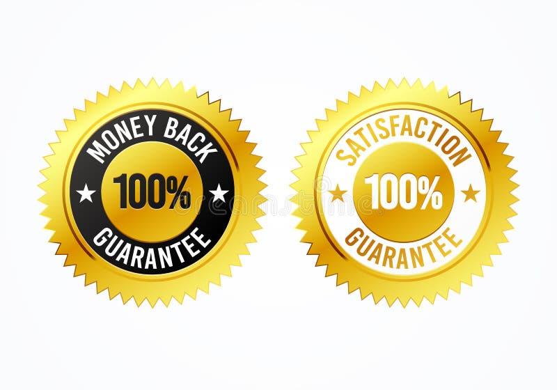 Baksida 100% för pengar för vektorillustrationen märker guld- och tillfredsställelsegaranti medaljen vektor illustrationer