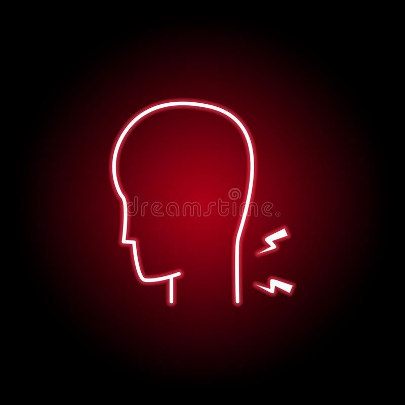 baksida smärtar symbolen i neonstil Best?ndsdelen av m?nniskokroppen sm?rtar f?r mobil begrepps- och reng?ringsdukappsillustratio stock illustrationer