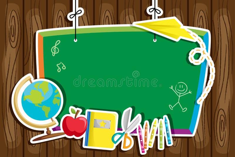 Baksidt till skolabakgrund stock illustrationer