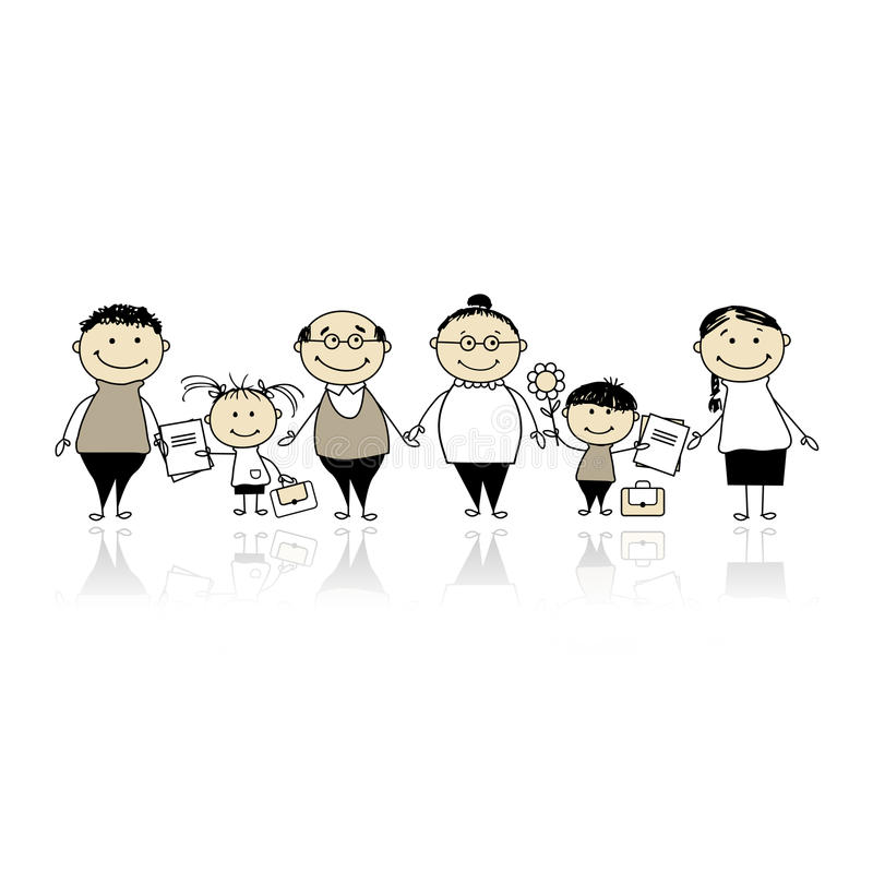 Baksidt till skolan, barn med föräldrar royaltyfri illustrationer