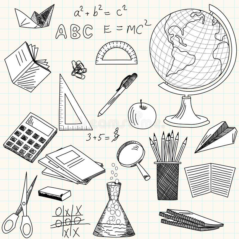 Baksidt till skolatemat stock illustrationer