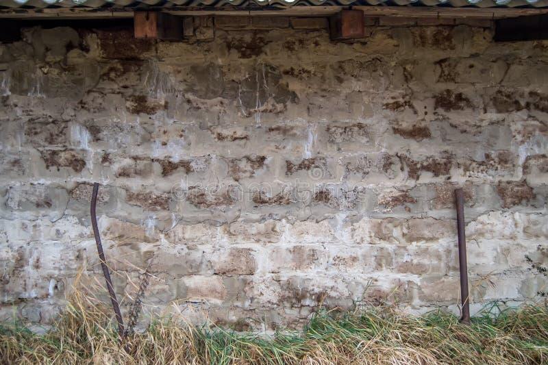 Baksteen concreet muur en gras royalty-vrije stock foto