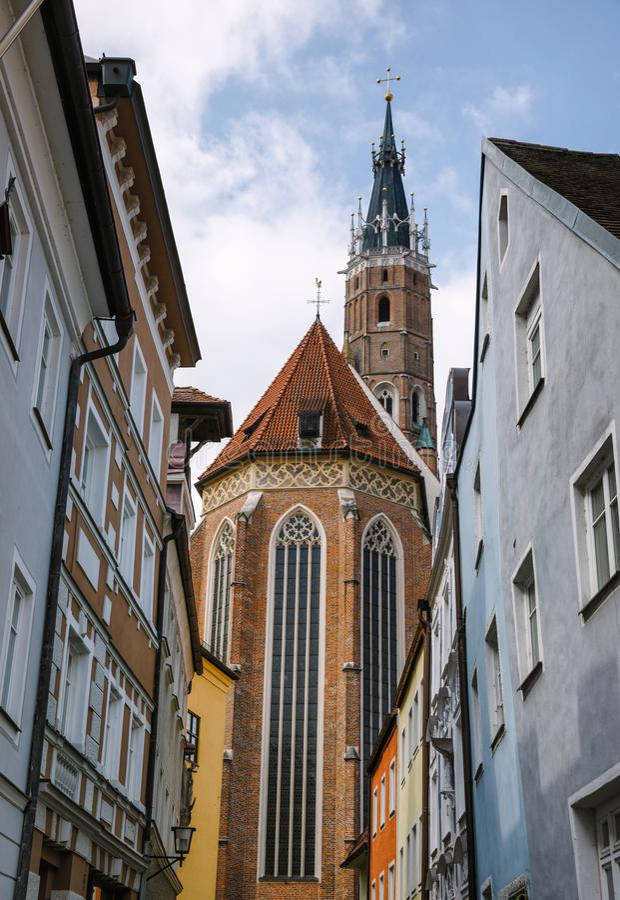 Baksteen Gotische Kerk van St Martin Landshut Old Town Bavaria Duitsland stock fotografie