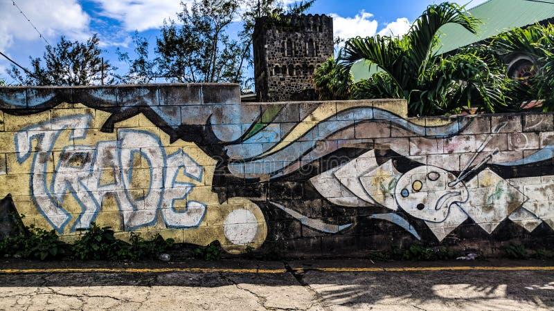 baksteen van de de muurzomer van graffitikleuren de artistieke stock afbeeldingen
