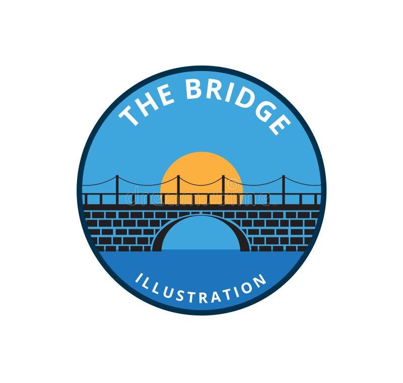 baksteenbrug met de maan achter de het vectorontwerp of illustratie van het pictogramembleem royalty-vrije illustratie