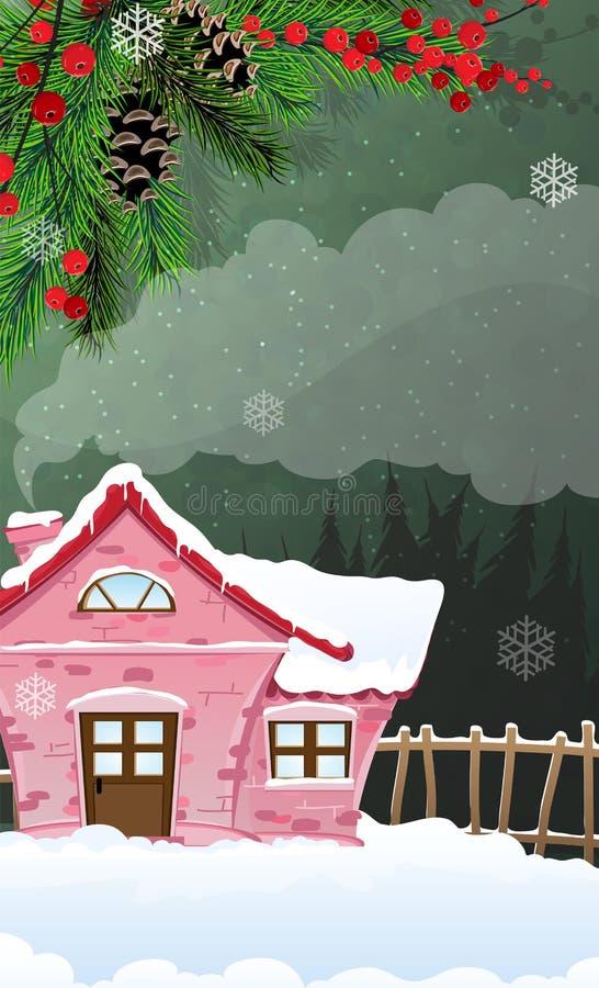 Baksteenhuis in de winterbos royalty-vrije illustratie