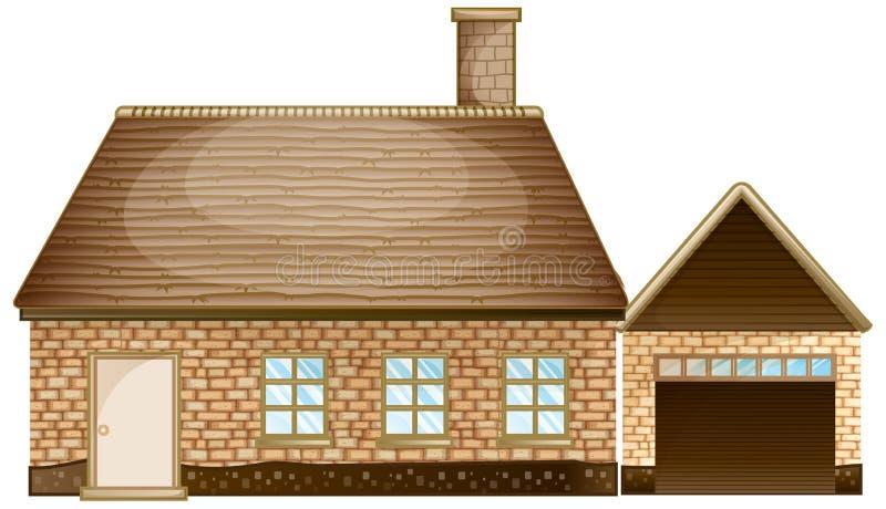 Baksteenhuis met garage royalty-vrije illustratie
