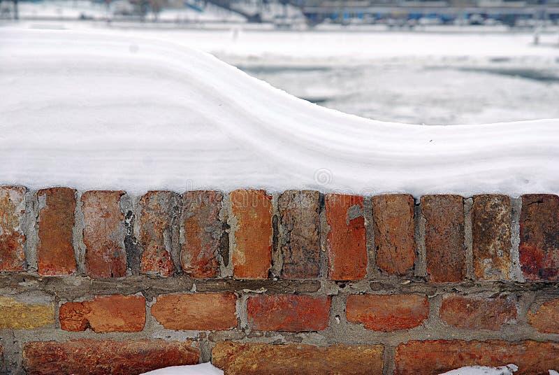 Baksteenomheining met sneeuw, Linkerkant wordt behandeld die stock afbeeldingen