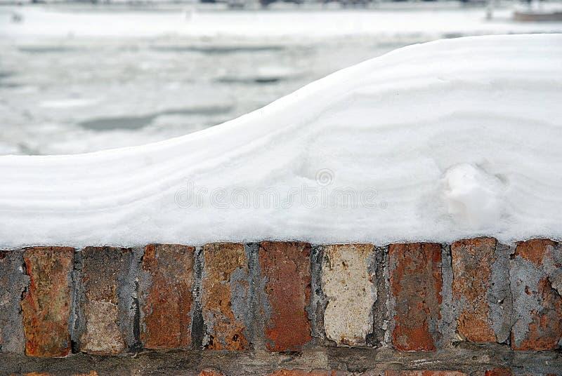 Baksteenomheining met sneeuw wordt behandeld die stock afbeelding
