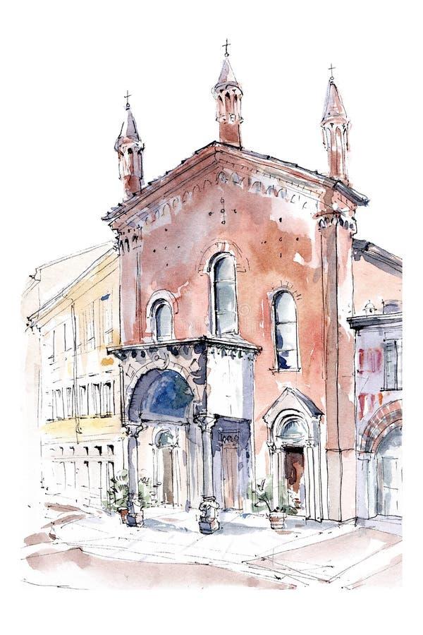 Baksteenvoorgevel van de Italiaanse kerkbasiliek Di San Calimero in Milaan, Italië Hand getrokken architecturale inkt en waterver vector illustratie