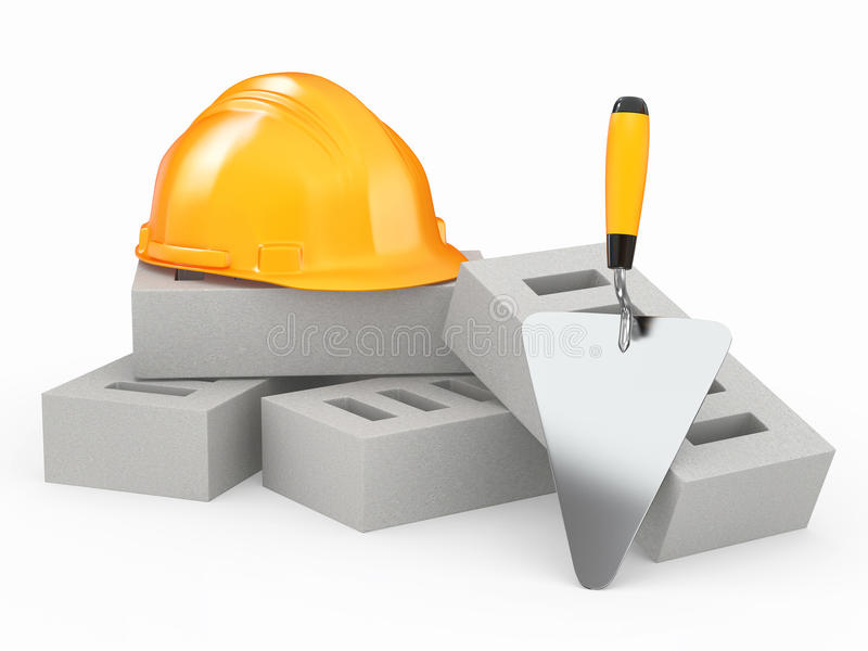 Bakstenen, bouwvakker en troffel. 3d stock illustratie