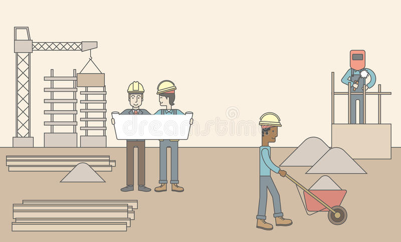 Bakstenen die in openlucht leggen stock illustratie