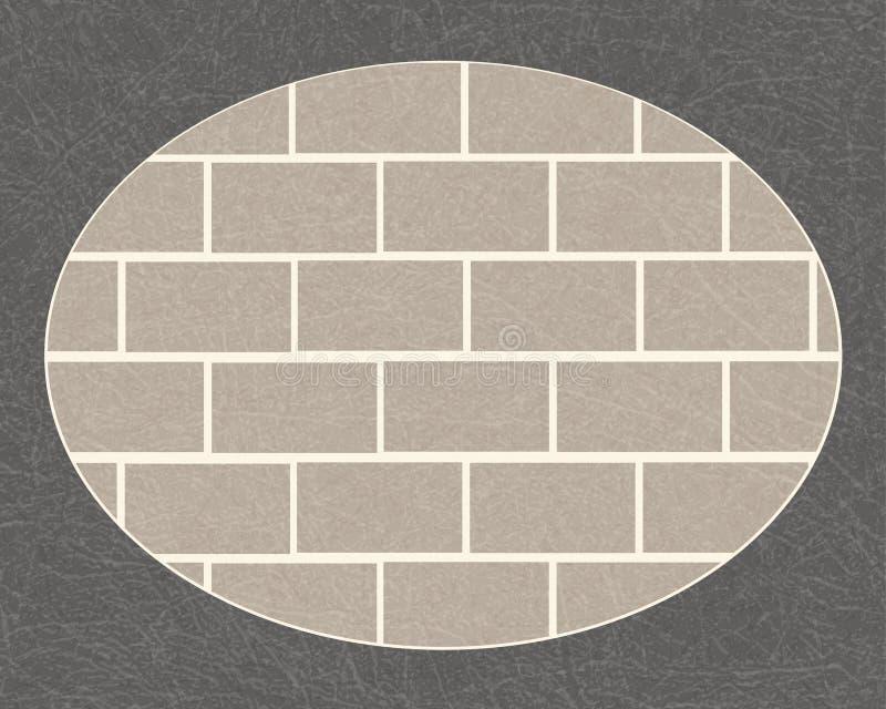 Bakstenen muur in donkergrijs ovaal kader met gekraste textuur, grunge, metselwerk van gewone grijze bakstenen vector illustratie