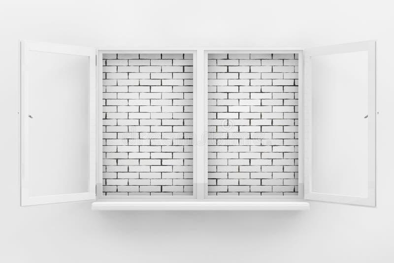 Bakstenen muur door Wit Geopend Venster wordt gezien dat het 3d teruggeven royalty-vrije illustratie