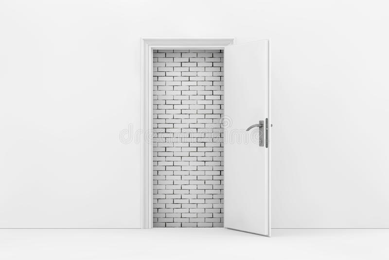 Bakstenen muur door Witte Geopende Deur wordt gezien die het 3d teruggeven stock illustratie