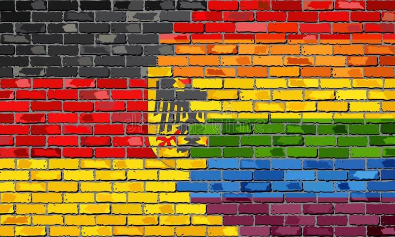 Bakstenen muur Duitsland en Vrolijke vlaggen stock illustratie