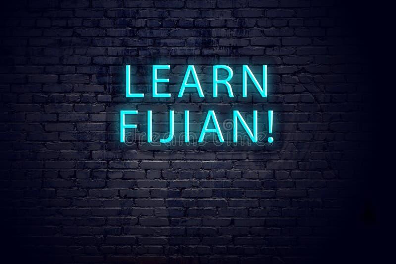 Bakstenen muur en neonteken met inschrijving Fijian concept het leren royalty-vrije stock afbeelding