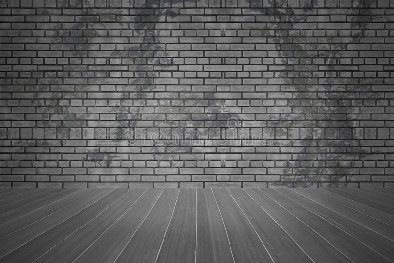 Bakstenen muur en textuur donkere vloer met de ruimteachtergrond van exemplaar ruimte, oude grunge royalty-vrije stock fotografie