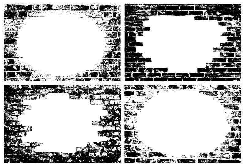 Bakstenen muur grunge grenzen stock illustratie