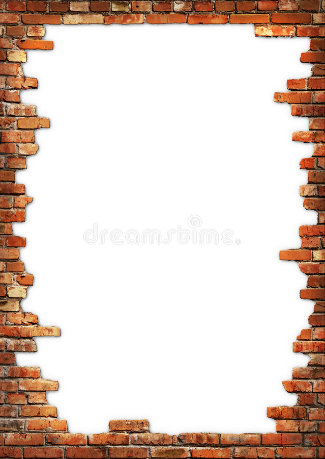 Bakstenen muur grungy frame stock afbeeldingen
