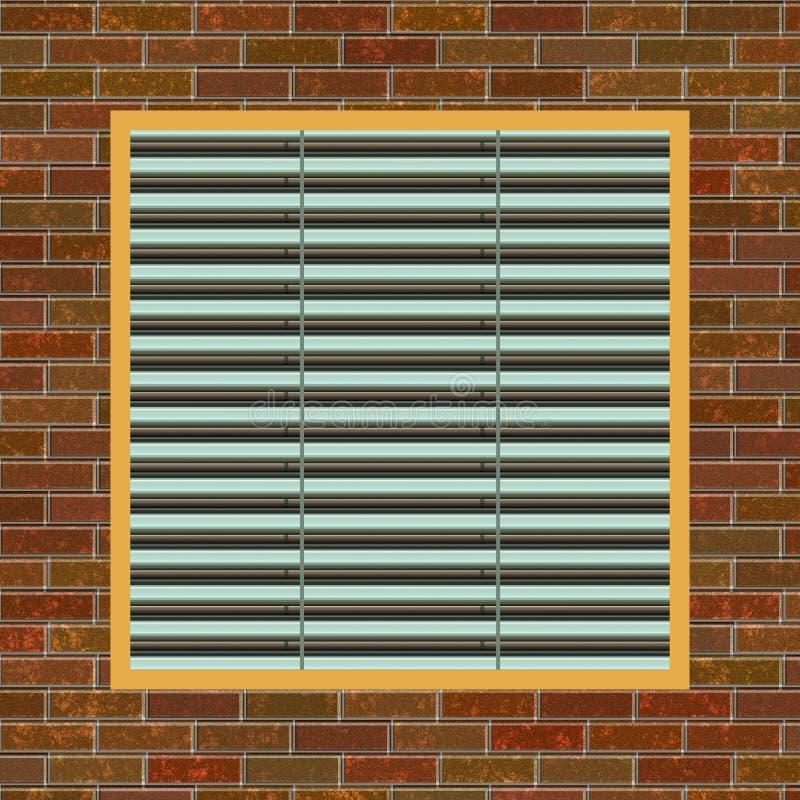 Bakstenen muur met de opening van a/c stock illustratie