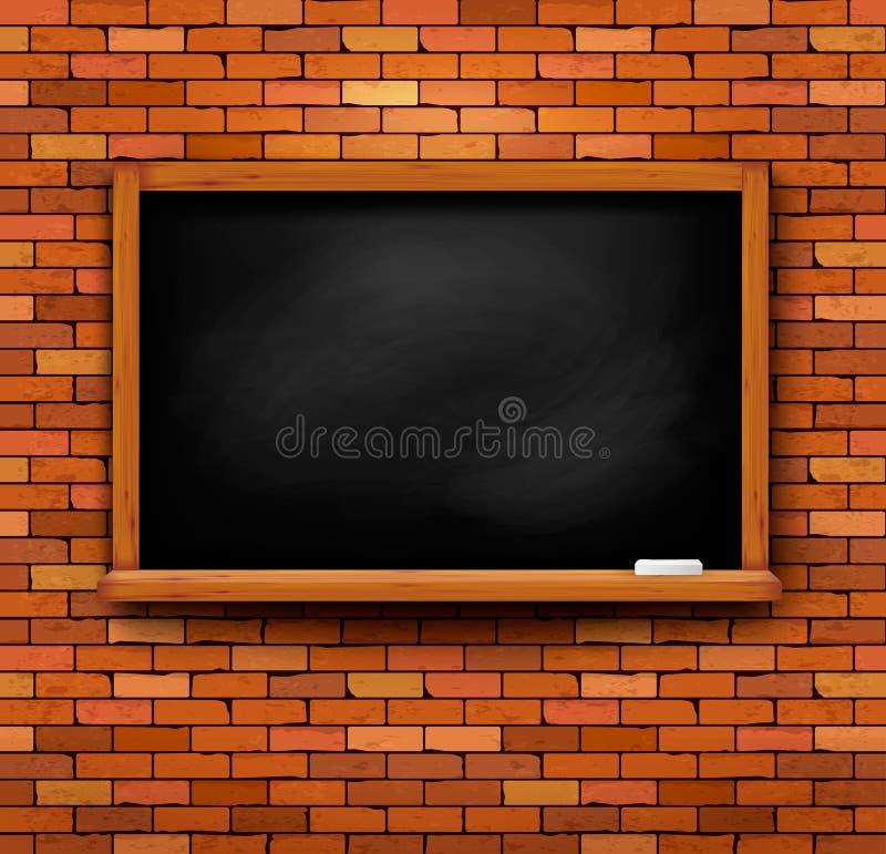 Bakstenen muur met een bord royalty-vrije illustratie